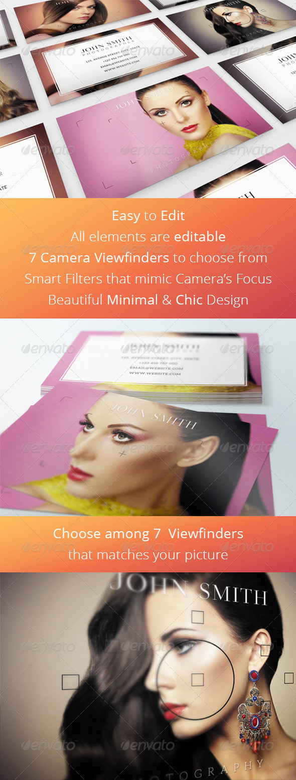 GraphicRiver Chic Photography Business Card with Viewfinder 8429574