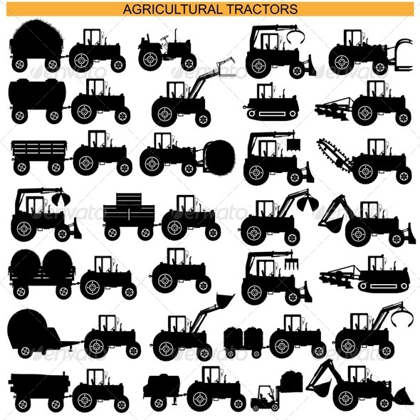 GraphicRiver Agricultural Tractor Pictograms 8429632