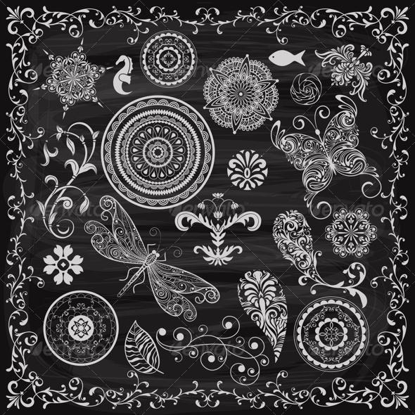 GraphicRiver Summer Vintage Floral Design Elements 8429634