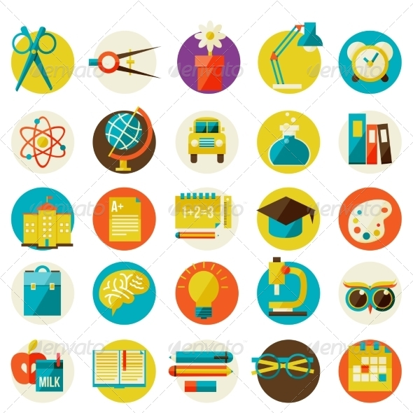 GraphicRiver Set of Flat School Icons 8429720