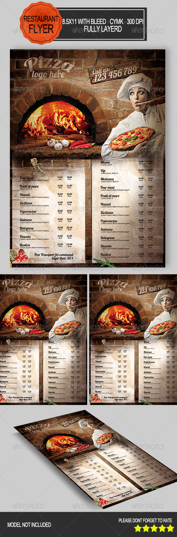 GraphicRiver Pizza Restaurant Flyer 8426944