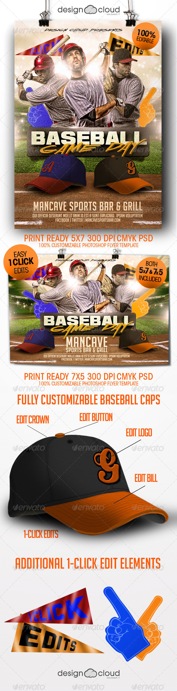 GraphicRiver Baseball Game Day Flyer Templates 8429773