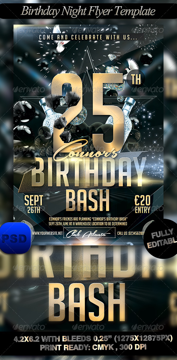 GraphicRiver Birthday Night Flyer Template 8429784