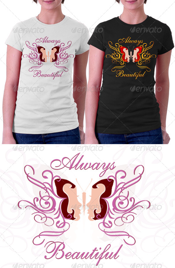 GraphicRiver Butterfly Beautiful T Shirt Graphic 8409838