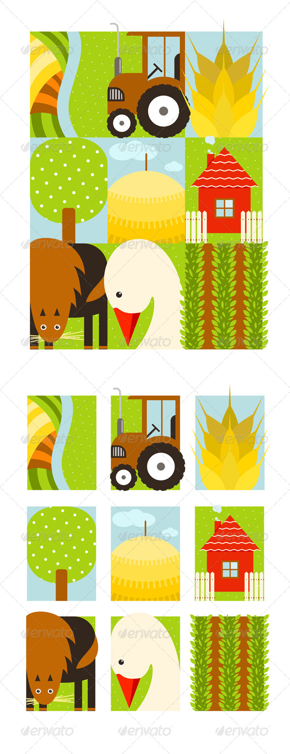 GraphicRiver Flat Childish Rectangular Agriculture Farm Set 8429953
