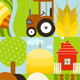 Flat Childish Rectangular Agriculture Farm Set - GraphicRiver Item for Sale