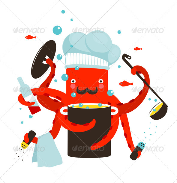 GraphicRiver Red Octopus Chef Cooking Food 8429979