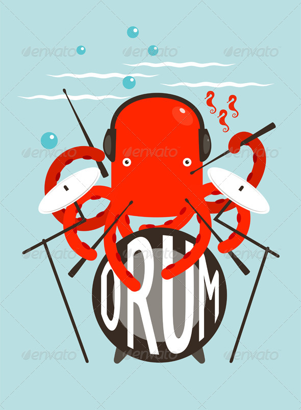 Red Octopus Playing Drums