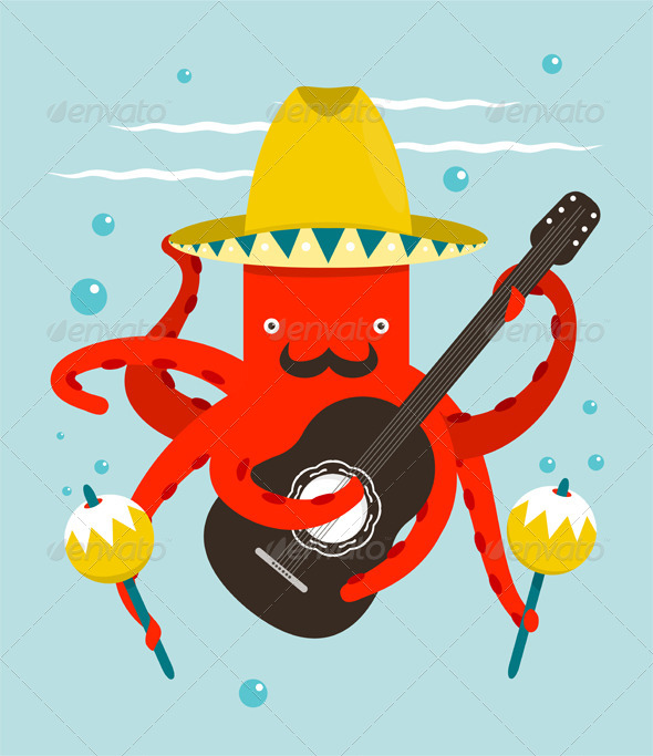 GraphicRiver Sombrero Macho Moustache Octopus Playing Guitar 8430053