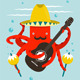 Sombrero Macho Moustache Octopus Playing Guitar - GraphicRiver Item for Sale
