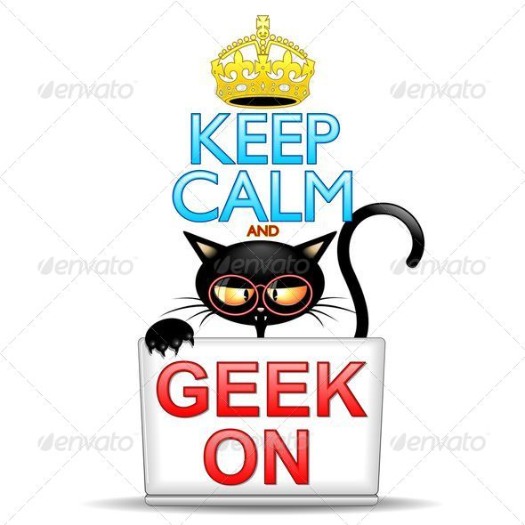 GraphicRiver Keep Calm and Geek on Cartoon Cat 8430152