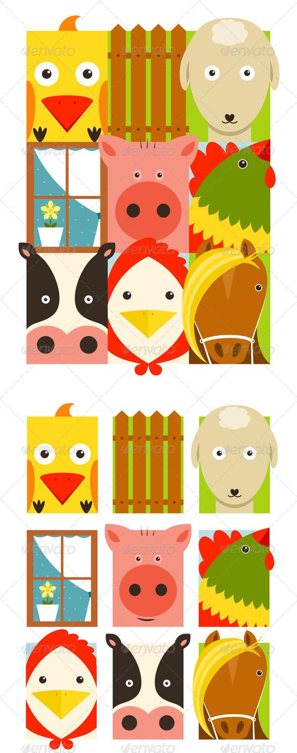 GraphicRiver Flat Childish Rectangular Cattle Farm Animals Set 8430153