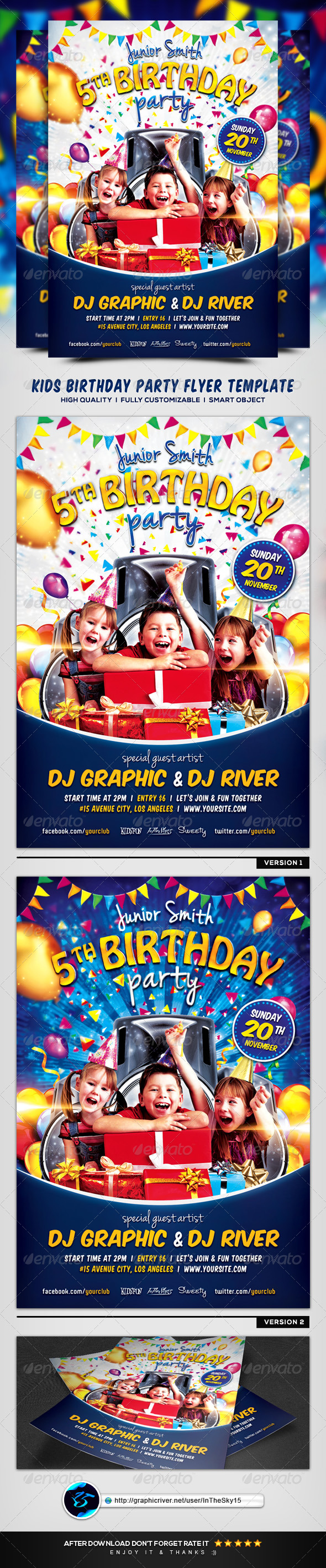 GraphicRiver Kids Birthday Party Flyer Template 8430324