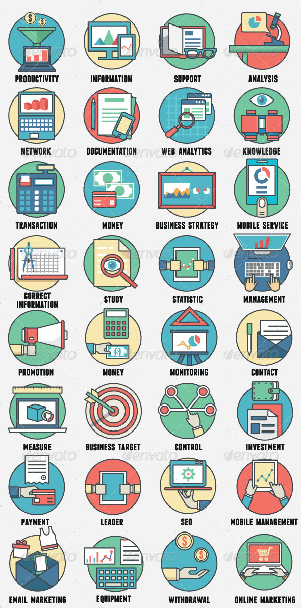GraphicRiver Business Management and Analytics Icons 8430742
