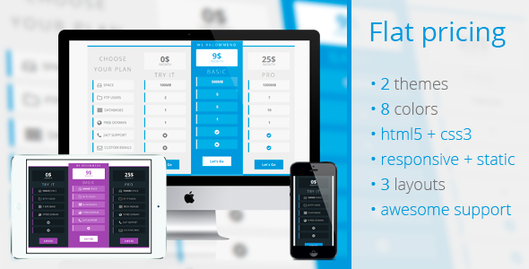CodeCanyon Flat Pricing Table 2 Themes 8 Colors 8430748