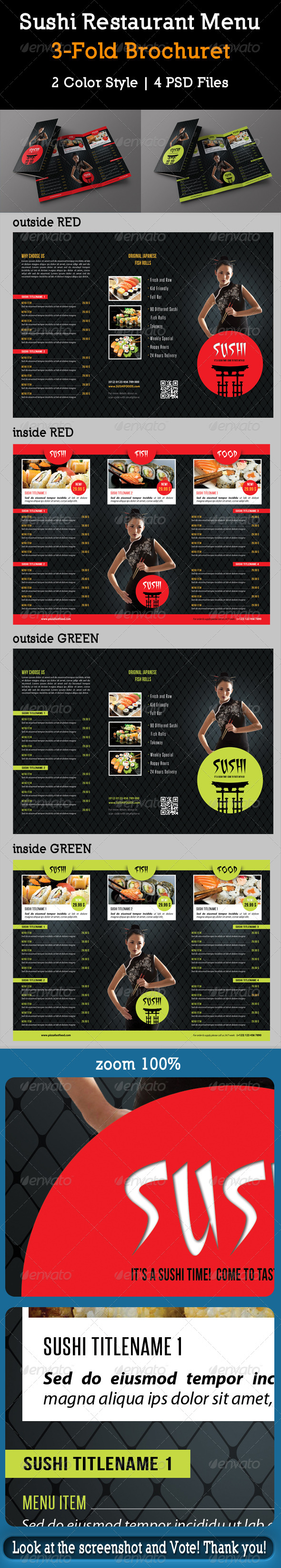GraphicRiver Sushi Restaurant Menu 3-Fold Brochure 03 8430970