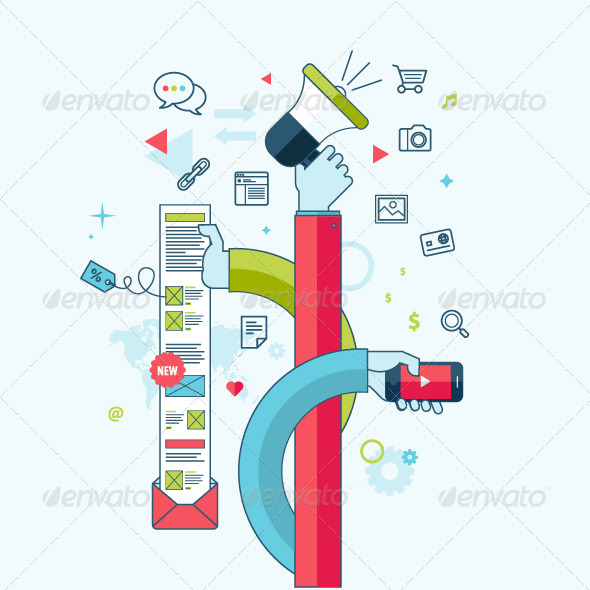 GraphicRiver Flat Line Concept for Internet Marketing 8431134