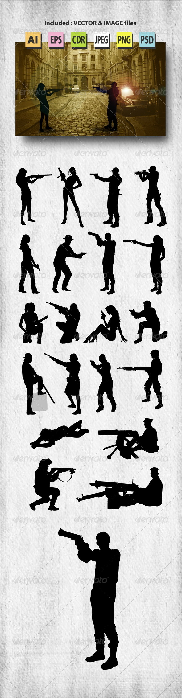 GraphicRiver People with Gun Silhouettes 8431142