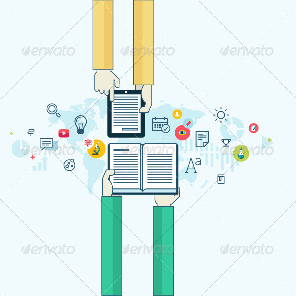 GraphicRiver Flat Line Concept for Online Education 8431237