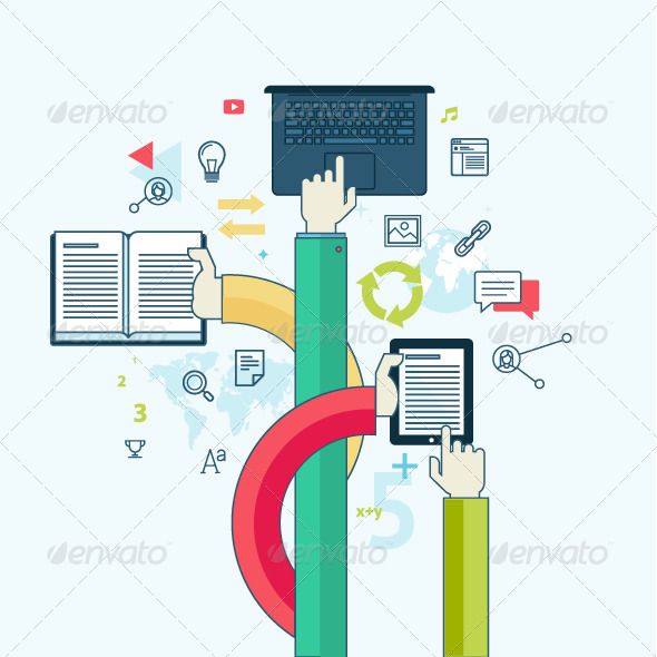 GraphicRiver Flat Line Concept for Education 8431265