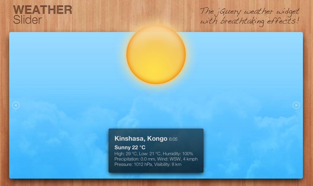 WeatherSlider - jQuery animated weather widget