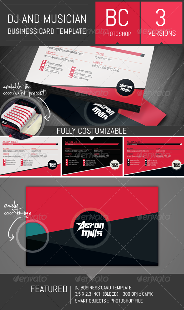 GraphicRiver Dj and Musician Business Card Template 8431338