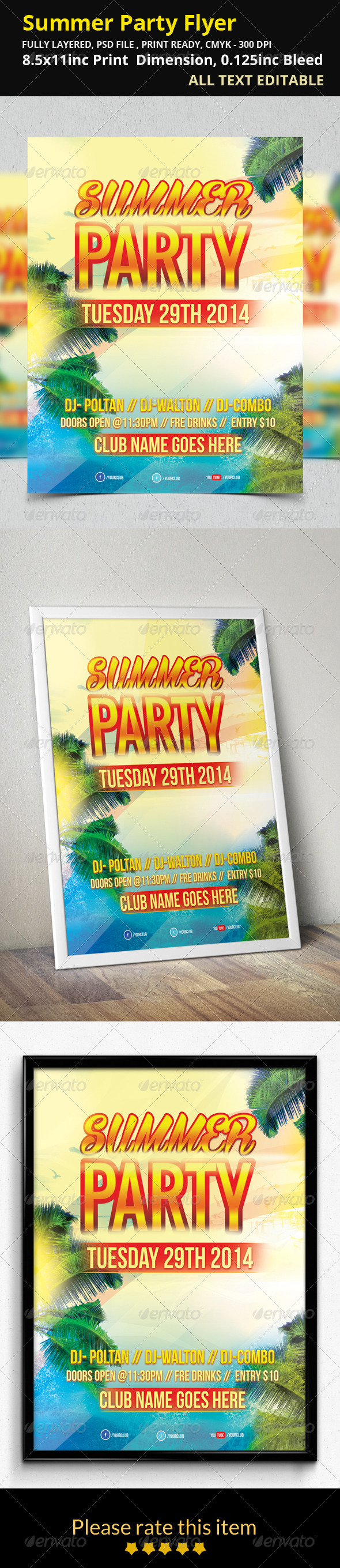 GraphicRiver Summer Party Flyer 8431543