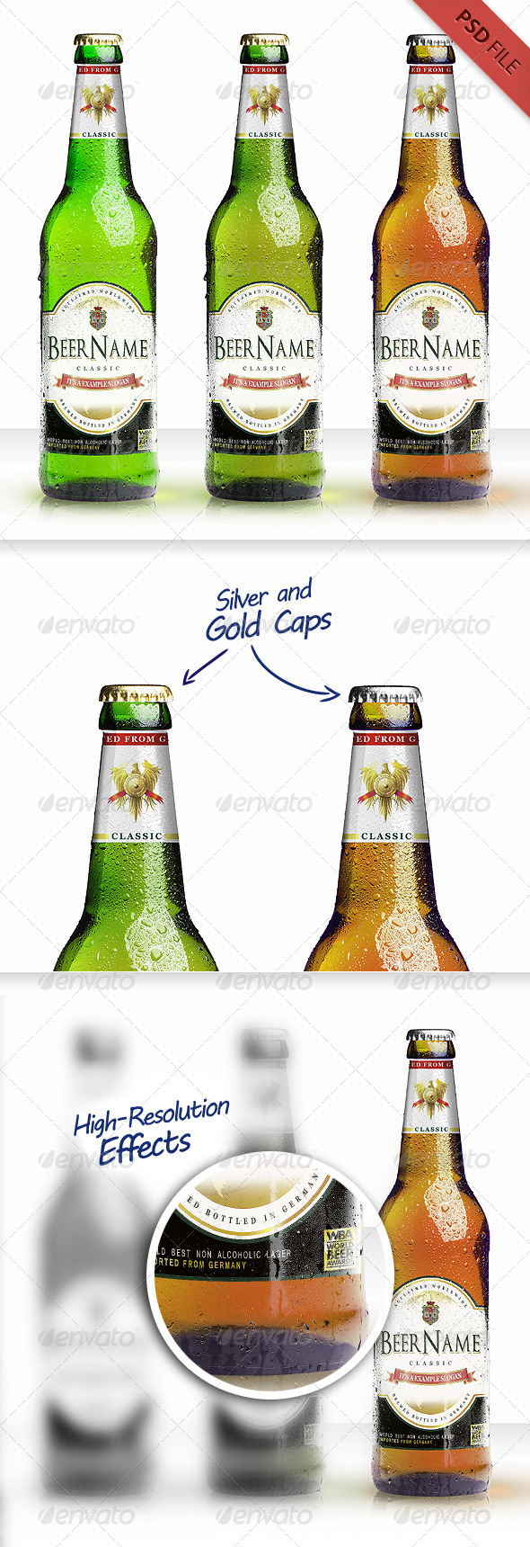 GraphicRiver Realistic Beer Bottle Mockup 8426567