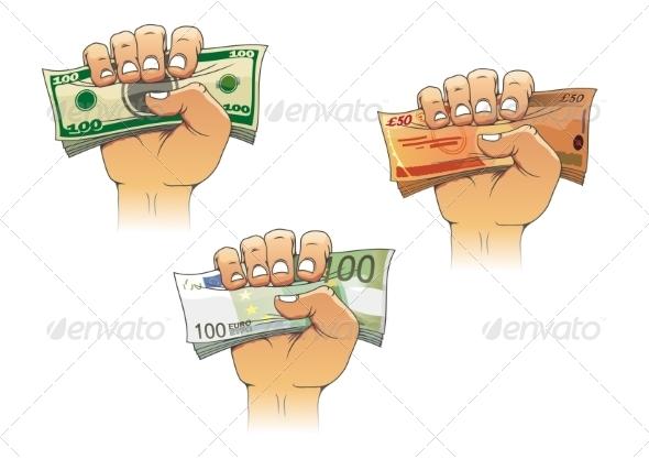 GraphicRiver Hand Grasping Dollars Euros and Pounds 8431817