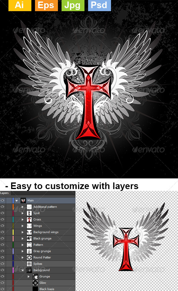 GraphicRiver Red Cross with Wings 8431958