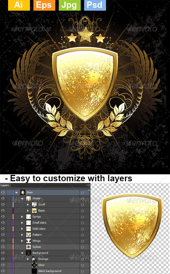 GraphicRiver Golden Shield 8432109