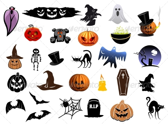 GraphicRiver Set of Halloween icons 8432177