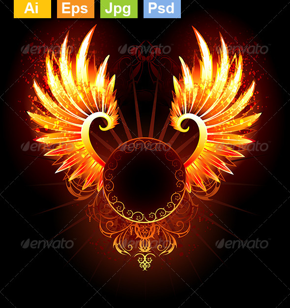 GraphicRiver Banner with Wings Phoenix 8432263