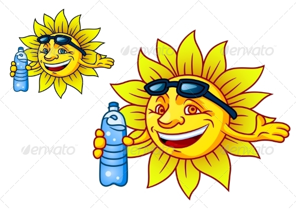 GraphicRiver Laughing Tropical Sun with Bottled Water 8432370