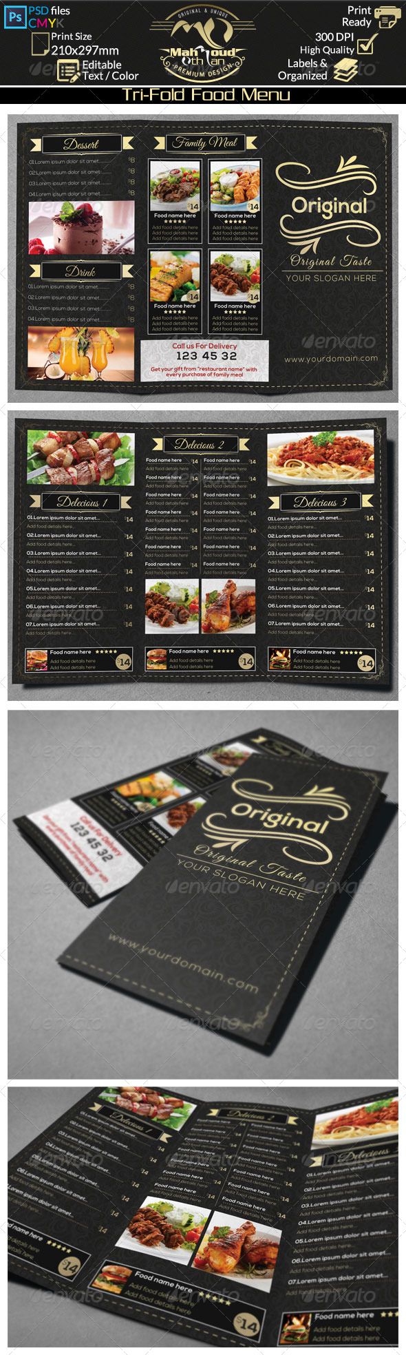 GraphicRiver Gold Trifold Food Menu 8432372