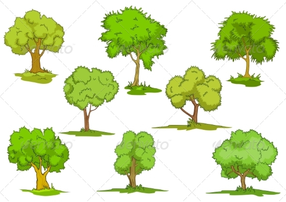 GraphicRiver Set of Leafy Green Trees 8432377