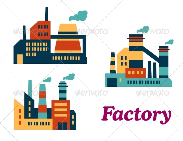 GraphicRiver Flat Factories Icons 8432426