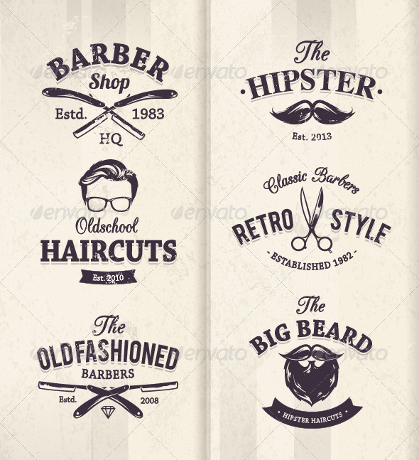 GraphicRiver Barber Shop Emblems 8432435