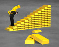 Carrying 3D golden money on bullion stairs - PhotoDune Item for Sale