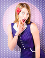 Surprised pin-up woman in purple polka dot dress - PhotoDune Item for Sale