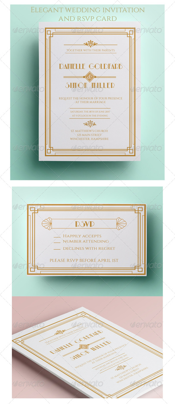 GraphicRiver Art Deco Wedding Invitation and RSVP 8433330