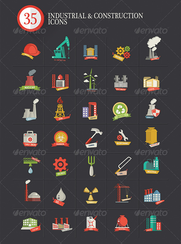 35 Industrial & Construction Icons