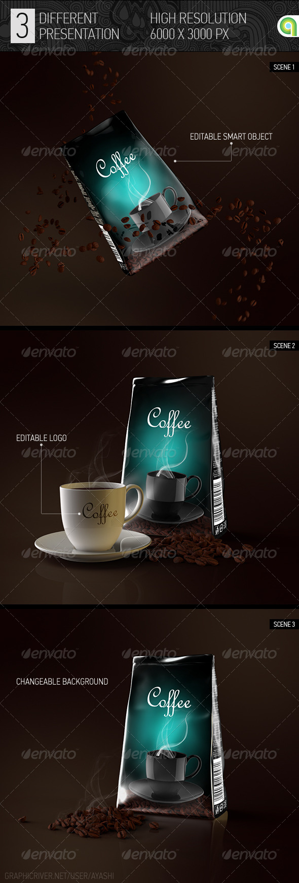 GraphicRiver Foil Coffee Bag Mock-up 8433431