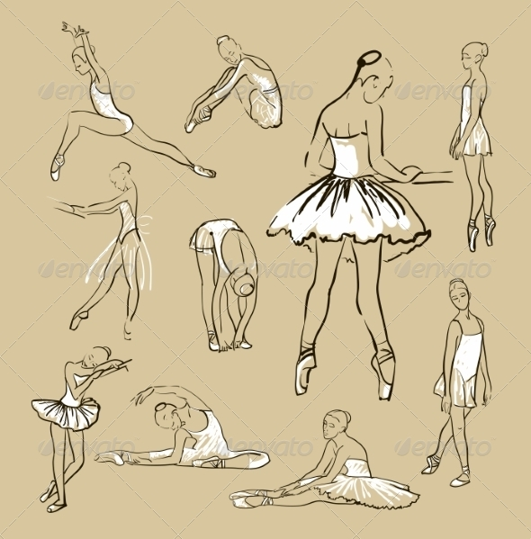 GraphicRiver Vector Sketch of Girl s Ballerinas Set 8433436