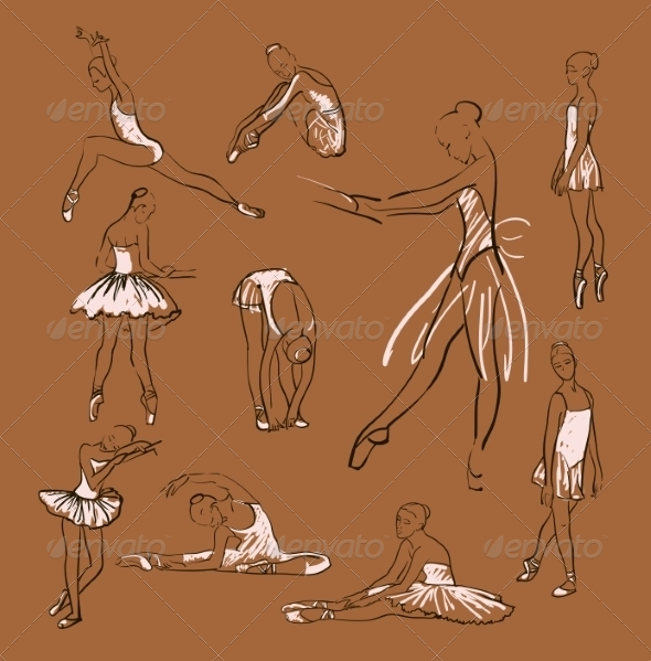GraphicRiver Vector Sketch of Girl s Ballerinas Set 8433438