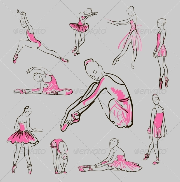 GraphicRiver Vector Sketch of Girl s Ballerinas Set 8433439