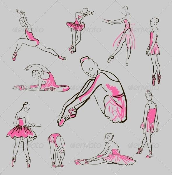 GraphicRiver Vector Sketch of Girl s Ballerinas Set 8433439