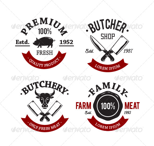 GraphicRiver Butcher Shop Emblems 8433512