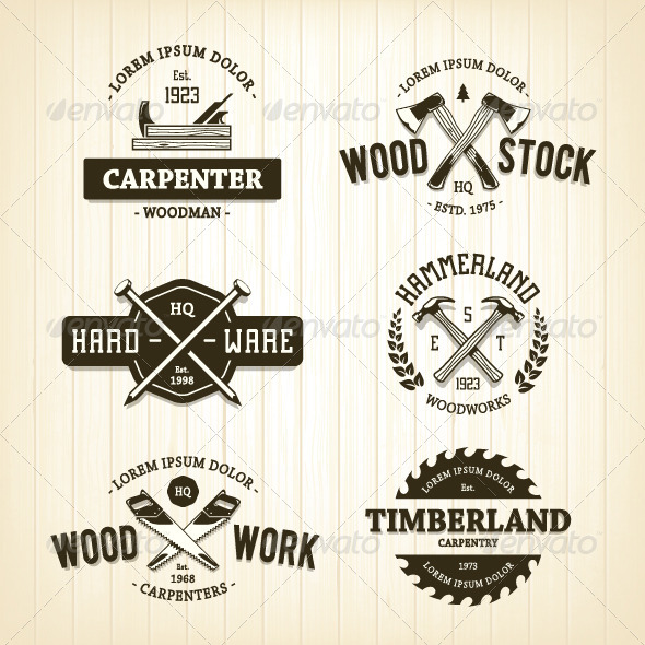 GraphicRiver Vintage Carpentry Emblems 8433531