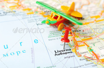 livorno italy map airplane - PhotoDune Item for Sale